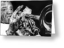 Portrait Of Louie Armstrong Greeting Card by Carrie Jackson