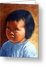 Portrait Of Marias Baby A Seri Indian Greeting Card by Evelyne Boynton Grierson
