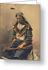 Portrait Of Oglala Sioux Council Chief Bone Necklace Greeting Card