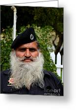 Portrait Of Pakistani Security Guard With Flowing White Beard Karachi Pakistan Greeting Card