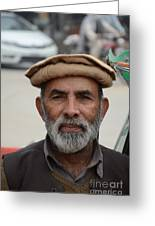 Portrait Of Pathan Tuk Tuk Rickshaw Driver Peshawar Pakistan Greeting Card