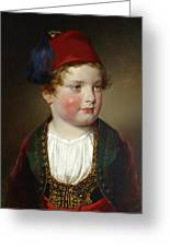 Portrait Of Prince Victor Odescalchi  In Greek Costume At The Age Of Five Greeting Card