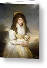Portrait Of Queen Charlotte Three-quarter Length In A White Dress A Yellow Shawl And Black Mantilla Holding A Maltese Dog Sir Henry William Beechey Greeting Card