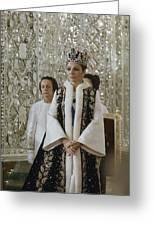 Portrait Of Queen Farah Pahlavi Dressed Greeting Card