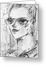 Portrait Of Self Greeting Card by John Toxey