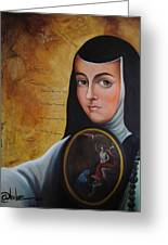 Portrait Of Sor Juana Ines De La Cruz Greeting Card