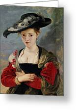 Portrait Of Susanna Lunden Greeting Card by Peter Paul Rubens