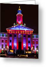 Portrait Of The Denver City And County Building During The Holidays Greeting Card