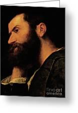 Portrait Of The Poet Pietro Aretino Greeting Card