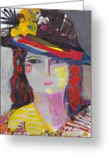 Portrait Of Woman With Vintage Hat Greeting Card