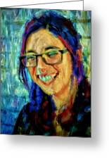 Portrait Painting In Acrylic Paint Of A Young Fresh Girl With Colorful Hair In A Library With Books  Greeting Card