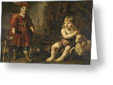 Portraits Of Two Boys In A Landscape One Dressed As A Hunter The Other St As John The Baptist Greeting Card