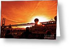 Sunset Under The 25 April Bridge Lisbon Greeting Card