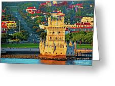 Lisbon Belem Tower From The River Greeting Card