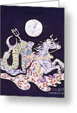 Poseidon Rides The Sea On A Moonlight Night Greeting Card