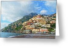 Positano Beach View Painting Greeting Card