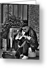 Post Alley Musician In Black And White Greeting Card