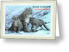 Postage Stamp - Snow Leopard By Kaye Menner Greeting Card