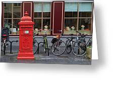 Postbox And Bicycles In Front Of The Diamond Museum In Bruges Greeting Card