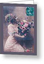 Postcard Girl With A Bouquet Greeting Card