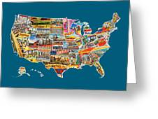 Postcards Of The United States Vintage Usa All 50 States Map Greeting Card