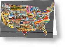 Postcards Of The United States Vintage Usa Lower 48 Map On Gray Wood Background Greeting Card