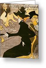 Poster Advertising Le Divan Japonais Greeting Card by Henri de Toulouse Lautrec