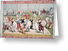 Poster Advertising The Barnum And Bailey Greatest Show On Earth Greeting Card