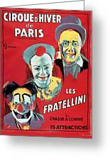 Poster Advertising The Fratellini Clowns Greeting Card