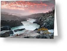 Potomac River At Great Falls Sunrise Landscape Greeting Card