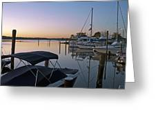 Potomac River At Sunrise Belle Haven Marina Alexandria Virginia Greeting Card by Brendan Reals