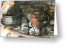 Pots Of A Fireplace Greeting Card