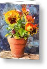 Potted Pansy Pencil Greeting Card