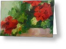 Potted Red Geraniums Greeting Card