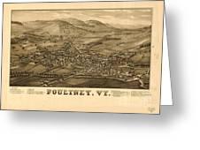 Poultney Vermont Map Vintage Greeting Card