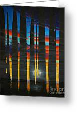 Poured Sunset On A Moonlit Night Greeting Card