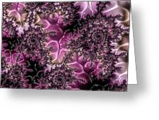 Powder Pink Black Gloss Fractal  Greeting Card
