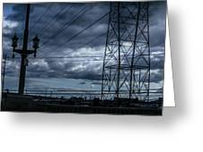 Los Angeles Power Grid At Dusk Greeting Card