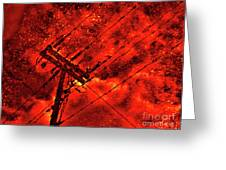 Power Line - Asphalt - Water Puddle Abstract Reflection 02 Greeting Card