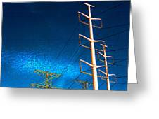 Power Line Light Clouds 2 Greeting Card