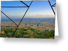 Power Lines Los Angeles Skyline Greeting Card