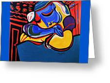 Power Nap  Picasso By Nora Greeting Card