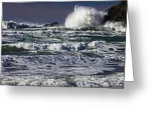 Powerful Waves Crash Ashore Greeting Card