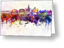 Poznan Skyline In Watercolor Background Greeting Card