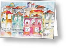 Praca Da Ribeira Porto Greeting Card