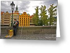 Prague Accordian Player On Charles Bridge Greeting Card
