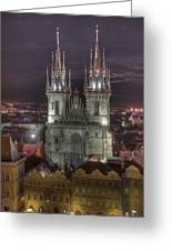 Prague At Night Greeting Card