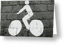 Prague Bike Lane-  By Linda Woods Greeting Card