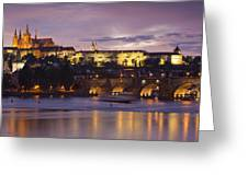 Prague Castle And Charles Bridge Greeting Card