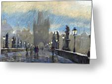 Prague Charles Bridge 06 Greeting Card by Yuriy  Shevchuk